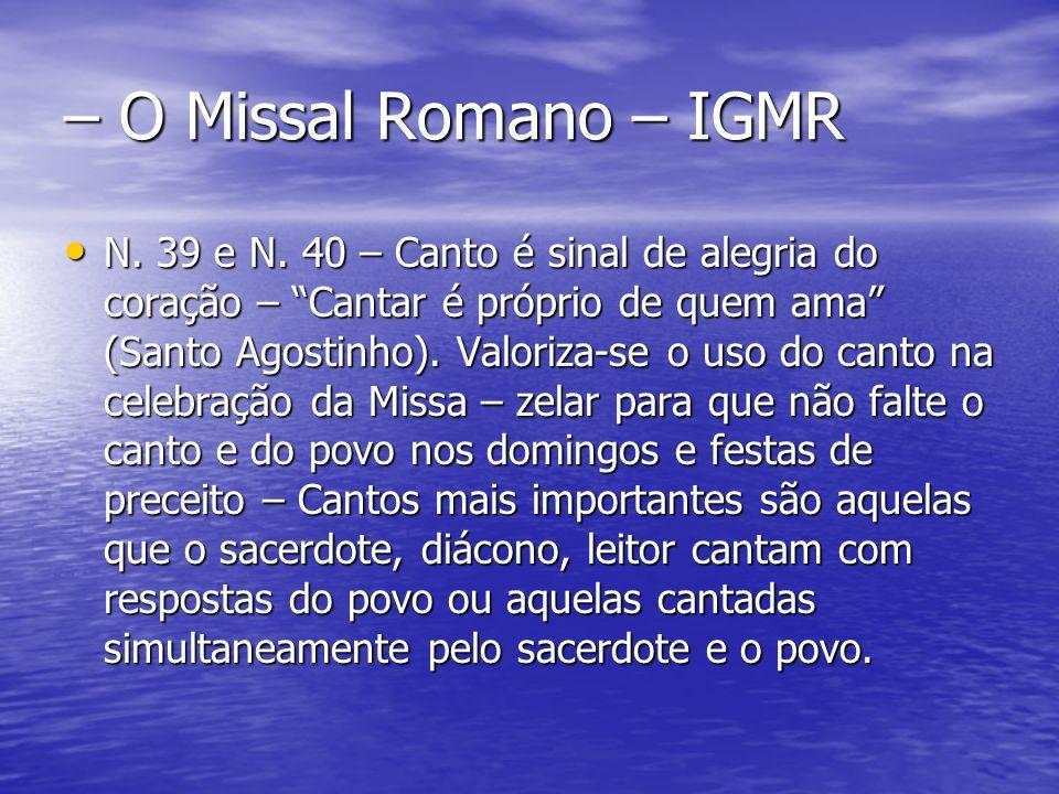 – O Missal Romano – IGMR