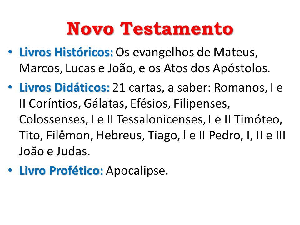 Novo Testamento Livros Históricos: Os evangelhos de Mateus, Marcos, Lucas e João, e os Atos dos Apóstolos.