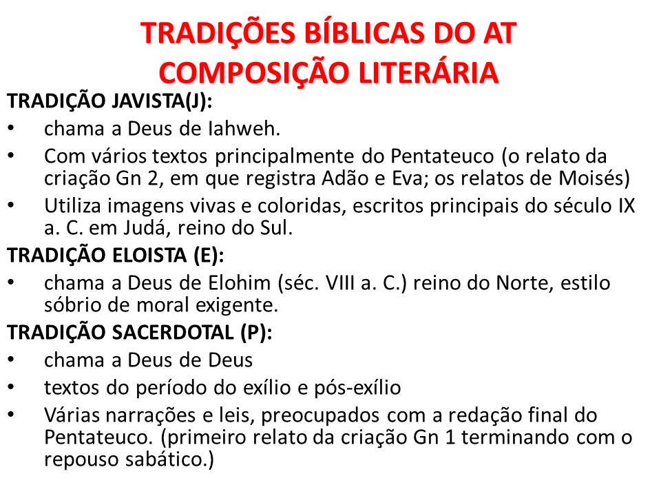 TRADIÇÕES BÍBLICAS DO AT COMPOSIÇÃO LITERÁRIA