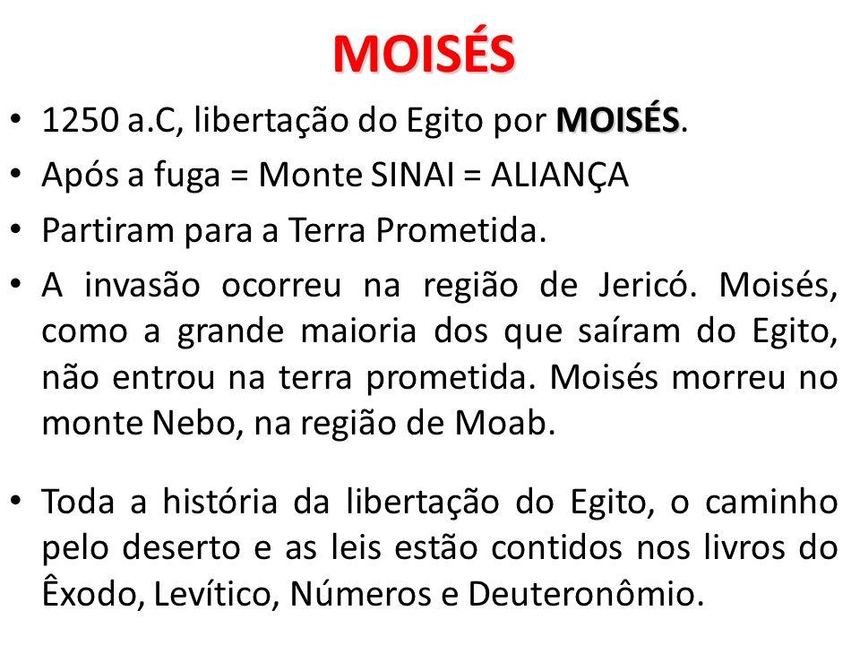 MOISÉS 1250 a.C, libertação do Egito por MOISÉS.