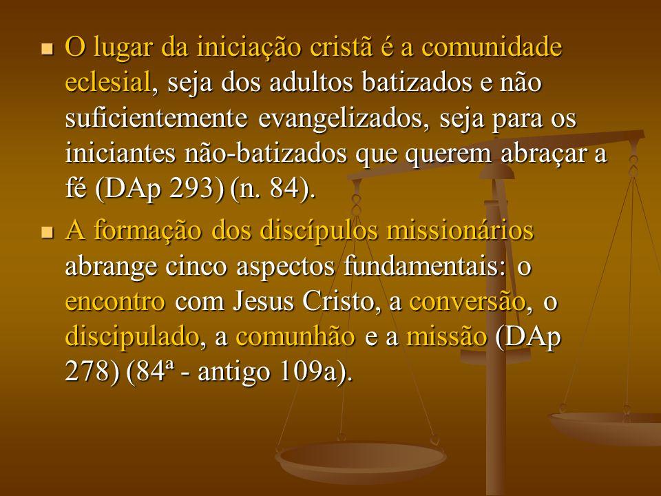 O lugar da iniciação cristã é a comunidade eclesial, seja dos adultos batizados e não suficientemente evangelizados, seja para os iniciantes não-batizados que querem abraçar a fé (DAp 293) (n. 84).
