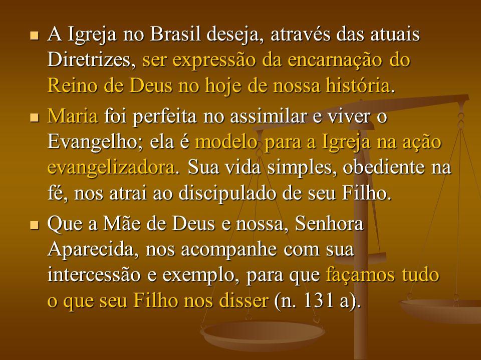 A Igreja no Brasil deseja, através das atuais Diretrizes, ser expressão da encarnação do Reino de Deus no hoje de nossa história.