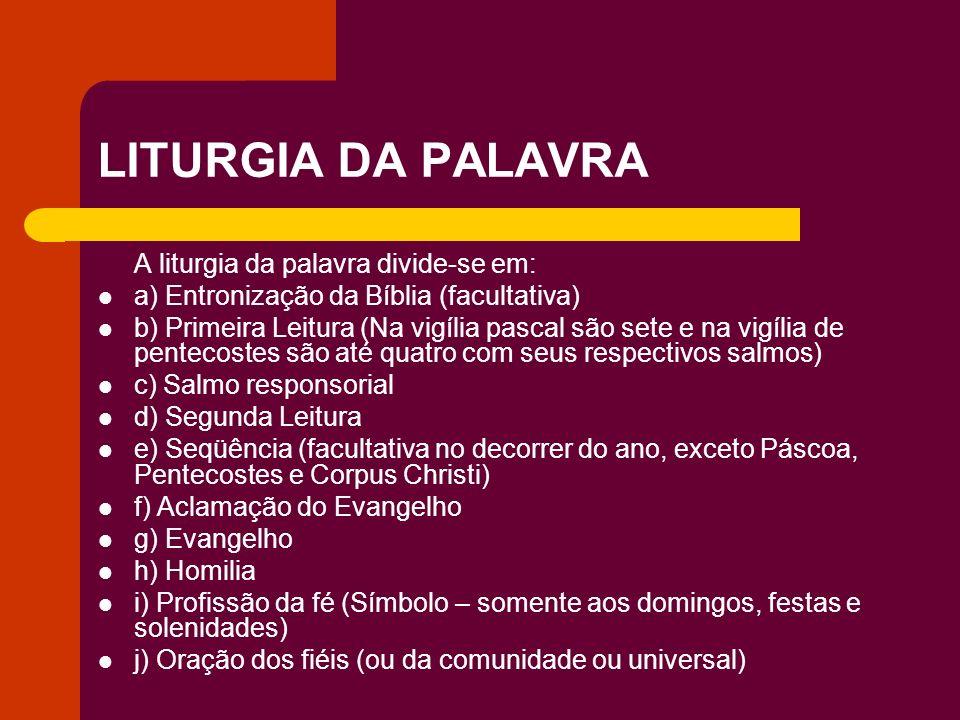 LITURGIA DA PALAVRA A liturgia da palavra divide-se em: