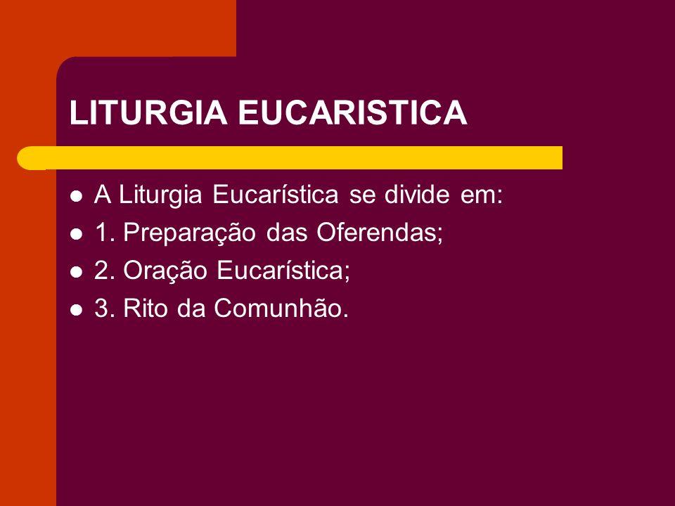 LITURGIA EUCARISTICA A Liturgia Eucarística se divide em:
