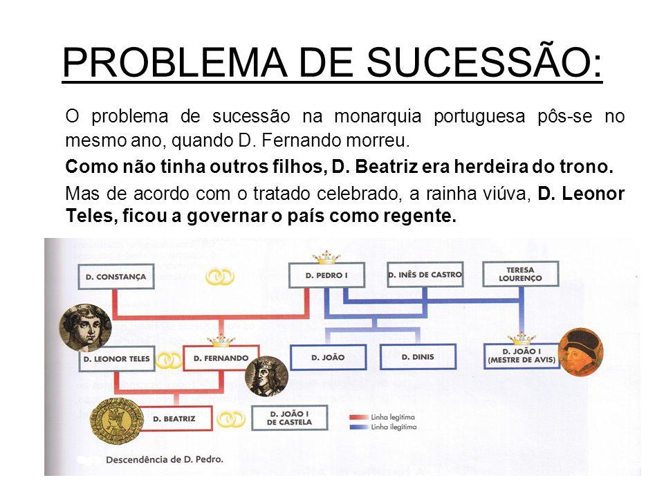 PROBLEMA DE SUCESSÃO: O problema de sucessão na monarquia portuguesa pôs-se no mesmo ano, quando D. Fernando morreu.