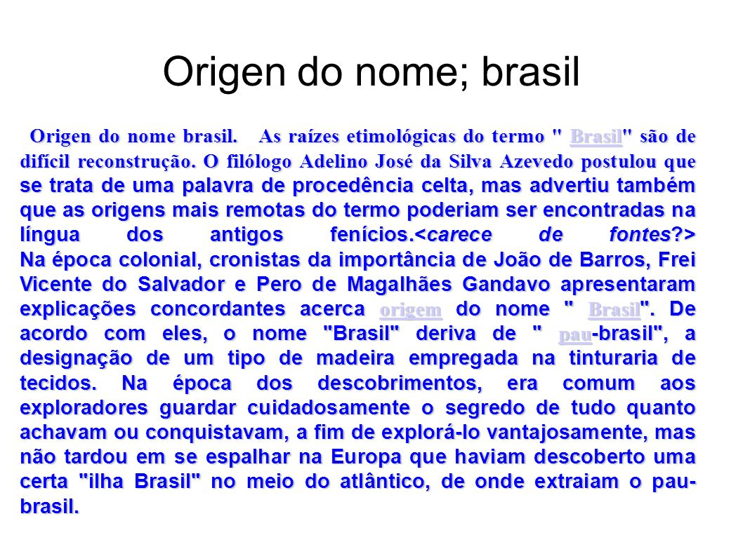 Origen do nome; brasil