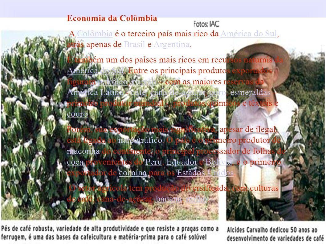 Economia da Colômbia A Colômbia é o terceiro país mais rico da América do Sul, atrás apenas de Brasil e Argentina.