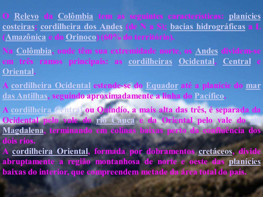 O Relevo da Colômbia tem as seguintes características: planícies costeiras; cordilheira dos Andes (de N a S); bacias hidrográficas a L (Amazônica e do Orinoco) (60% do território).