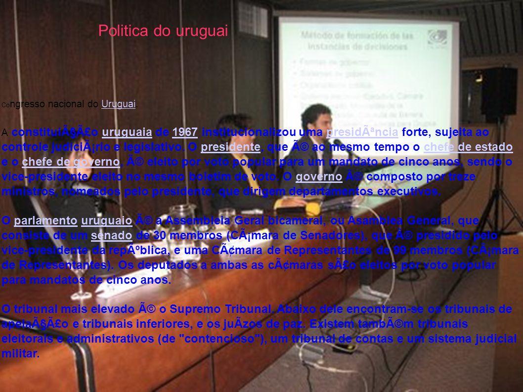 Politica do uruguaiCongresso nacional do Uruguai.