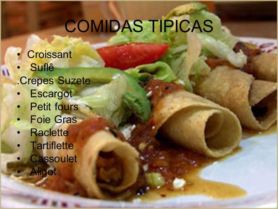 COMIDAS TIPICAS Croissant Suflê .Crepes Suzete Escargot Petit fours