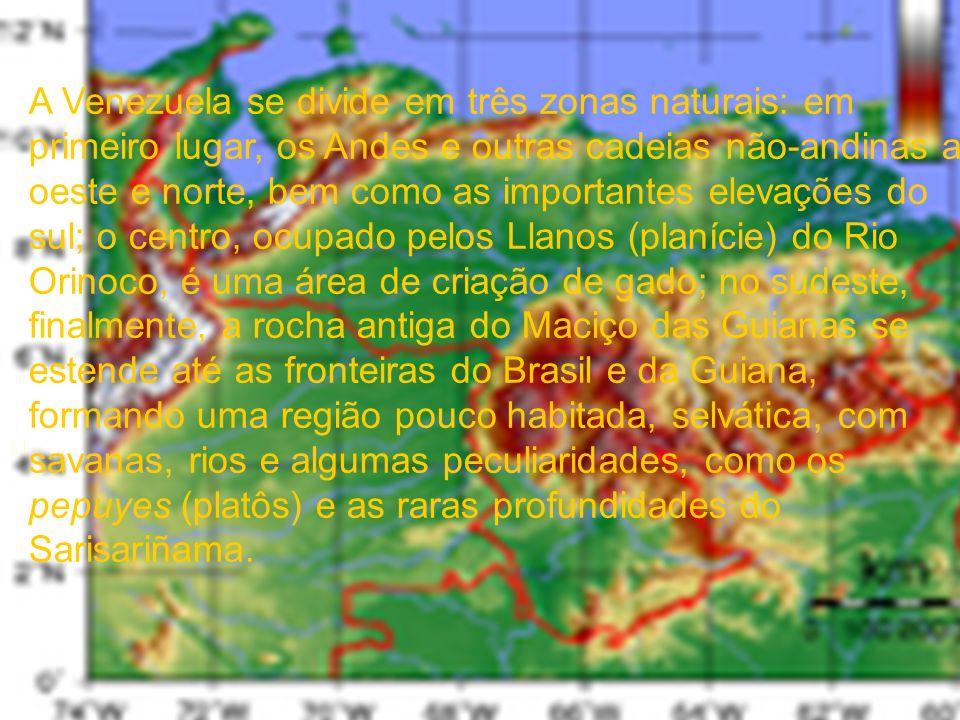 A Venezuela se divide em três zonas naturais: em primeiro lugar, os Andes e outras cadeias não-andinas a oeste e norte, bem como as importantes elevações do sul; o centro, ocupado pelos Llanos (planície) do Rio Orinoco, é uma área de criação de gado; no sudeste, finalmente, a rocha antiga do Maciço das Guianas se estende até as fronteiras do Brasil e da Guiana, formando uma região pouco habitada, selvática, com savanas, rios e algumas peculiaridades, como os pepuyes (platôs) e as raras profundidades do Sarisariñama.