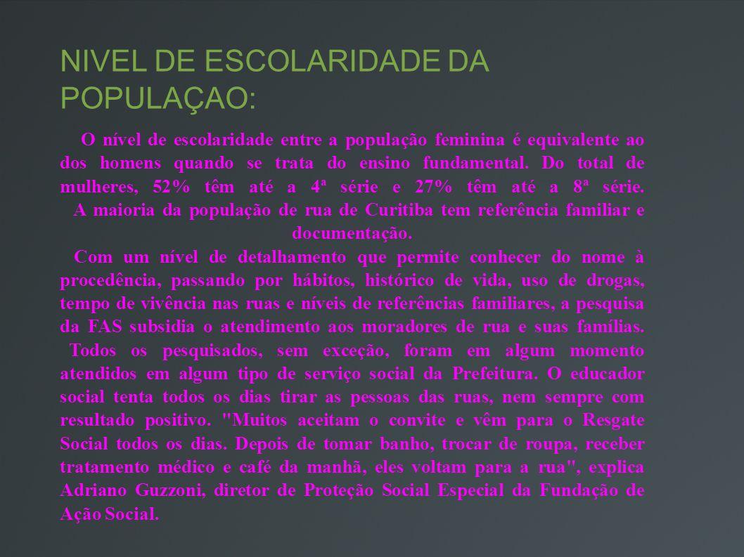 NIVEL DE ESCOLARIDADE DA POPULAÇAO: