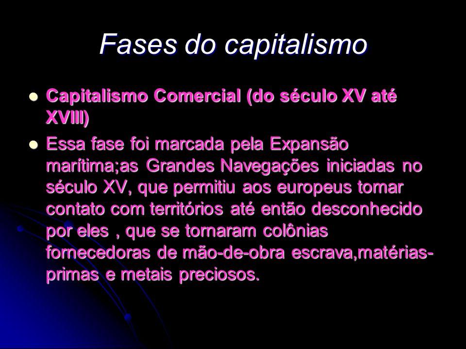 Fases do capitalismo Capitalismo Comercial (do século XV até XVIII)