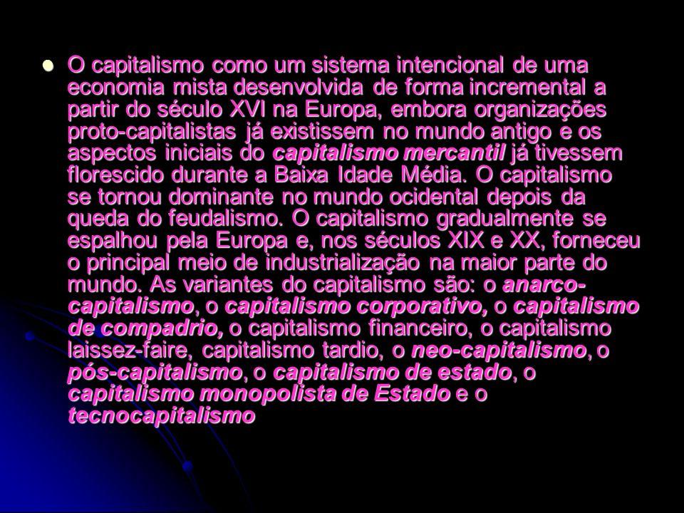 O capitalismo como um sistema intencional de uma economia mista desenvolvida de forma incremental a partir do século XVI na Europa, embora organizações proto-capitalistas já existissem no mundo antigo e os aspectos iniciais do capitalismo mercantil já tivessem florescido durante a Baixa Idade Média.