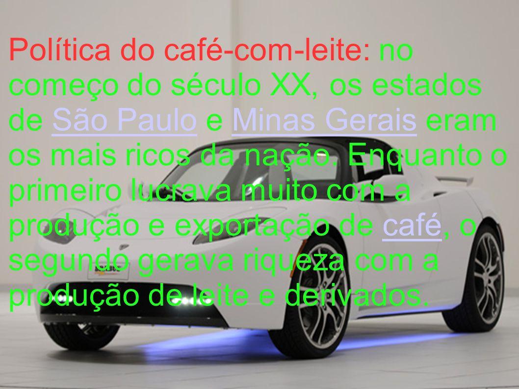 Política do café-com-leite: no começo do século XX, os estados de São Paulo e Minas Gerais eram os mais ricos da nação.