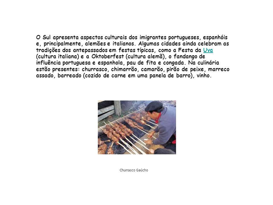 O Sul apresenta aspectos culturais dos imigrantes portugueses, espanhóis e, principalmente, alemães e italianos. Algumas cidades ainda celebram as tradições dos antepassados em festas típicas, como a Festa da Uva (cultura italiana) e a Oktoberfest (cultura alemã), o fandango de influência portuguesa e espanhola, pau de fita e congada. Na culinária estão presentes: churrasco, chimarrão, camarão, pirão de peixe, marreco assado, barreado (cozido de carne em uma panela de barro), vinho.