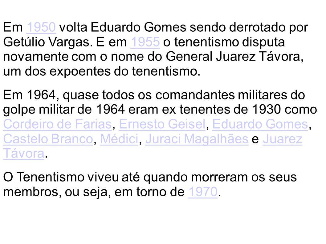 Em 1950 volta Eduardo Gomes sendo derrotado por Getúlio Vargas