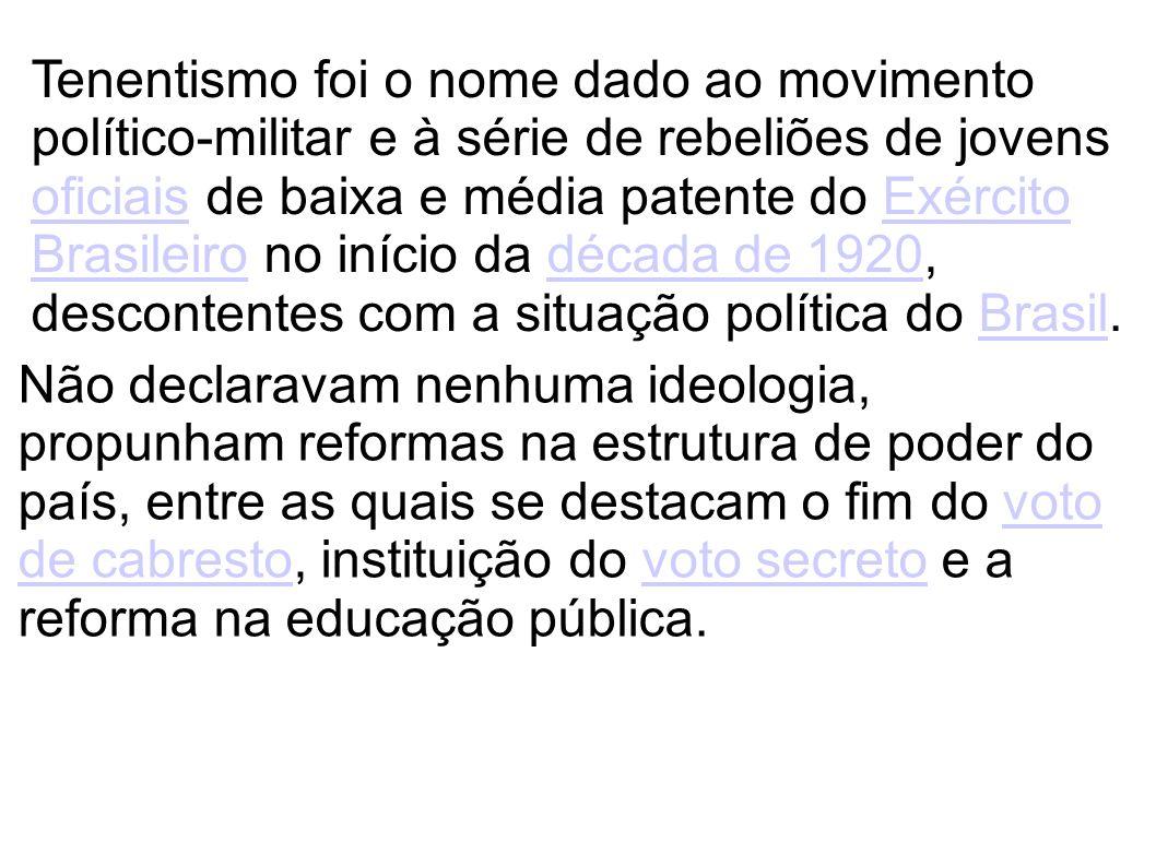 Tenentismo foi o nome dado ao movimento político-militar e à série de rebeliões de jovens oficiais de baixa e média patente do Exército Brasileiro no início da década de 1920, descontentes com a situação política do Brasil.