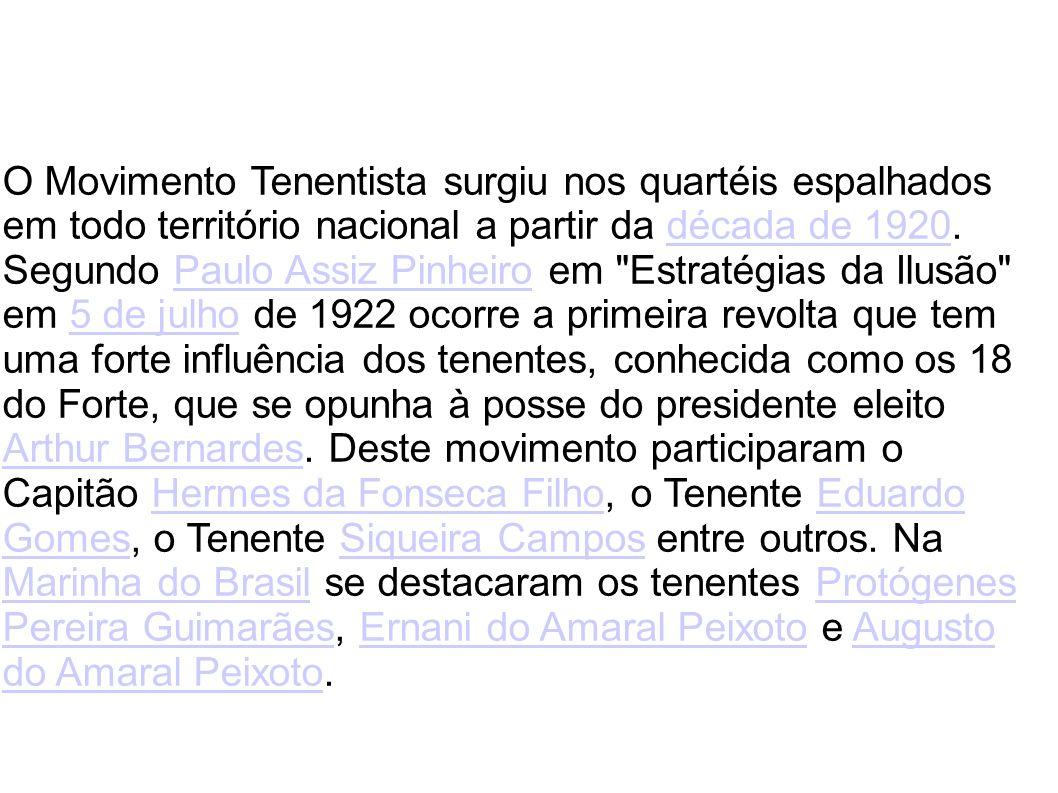 O Movimento Tenentista surgiu nos quartéis espalhados em todo território nacional a partir da década de 1920.