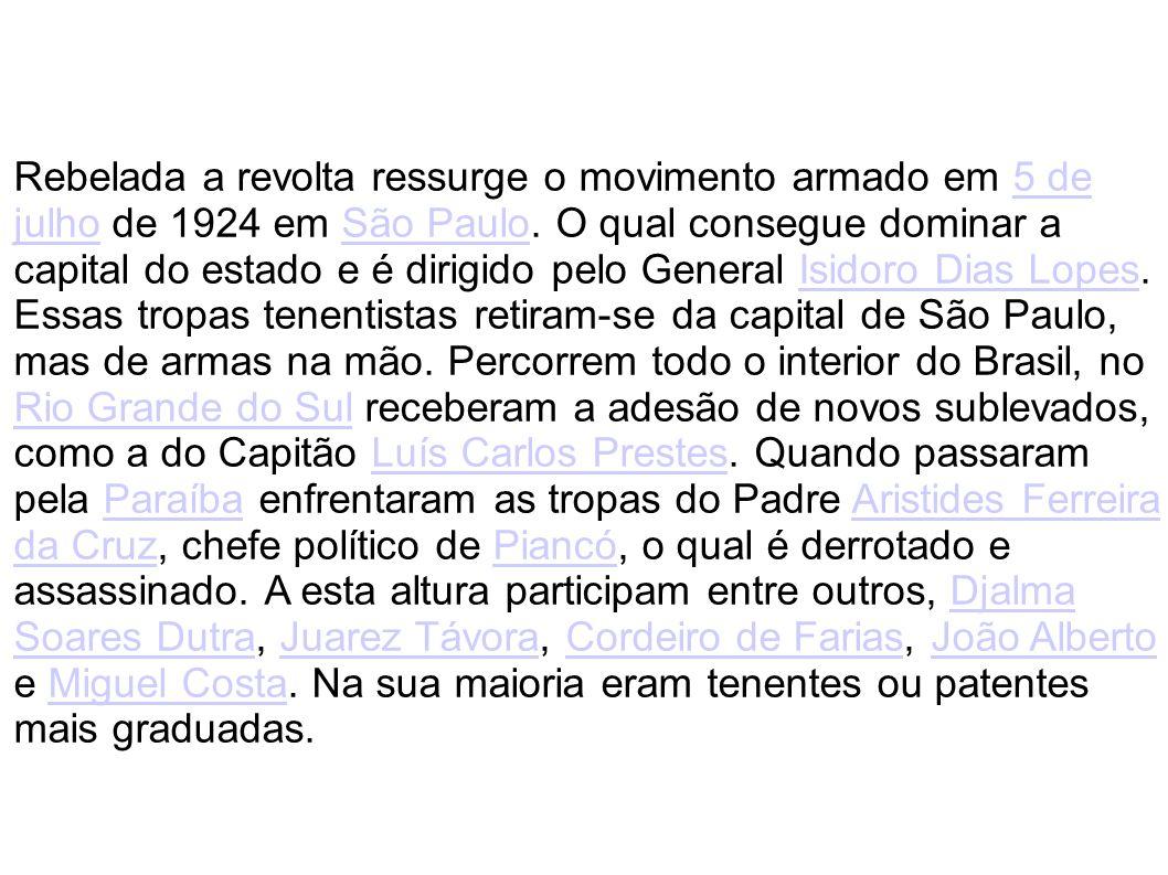 Rebelada a revolta ressurge o movimento armado em 5 de julho de 1924 em São Paulo.
