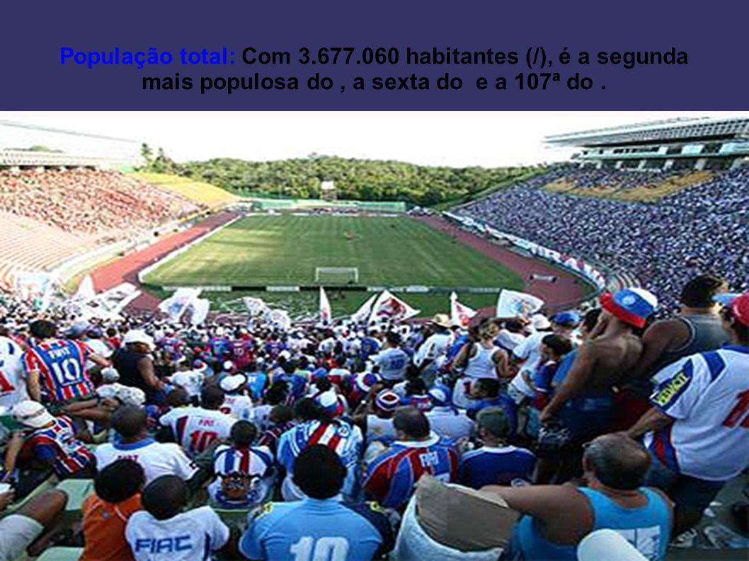 População total: Com 3.677.060 habitantes (/), é a segunda mais populosa do , a sexta do e a 107ª do .