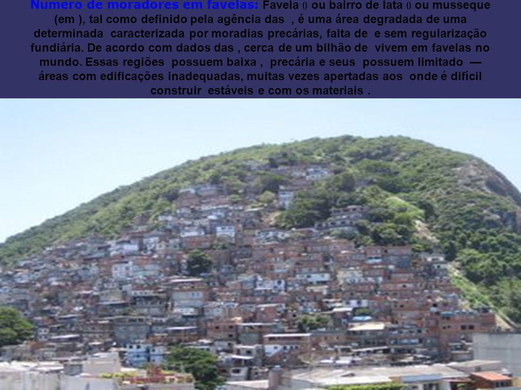 Numero de moradores em favelas: Favela () ou bairro de lata () ou musseque (em ), tal como definido pela agência das , é uma área degradada de uma determinada caracterizada por moradias precárias, falta de e sem regularização fundiária.