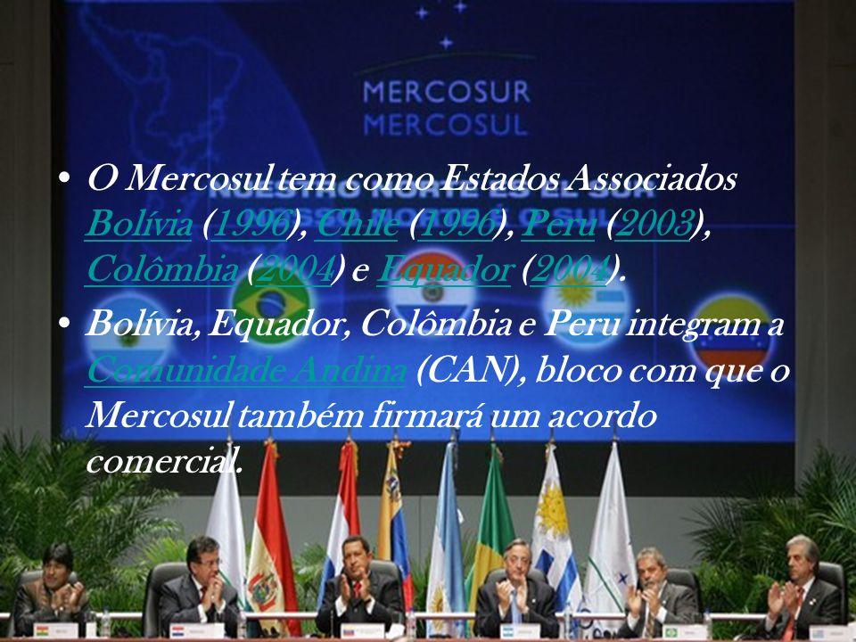 O Mercosul tem como Estados Associados Bolívia (1996), Chile (1996), Peru (2003), Colômbia (2004) e Equador (2004).