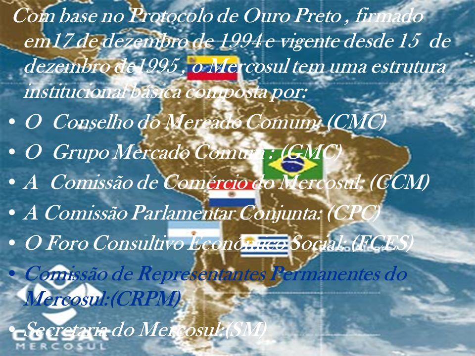 Com base no Protocolo de Ouro Preto , firmado em17 de dezembro de 1994 e vigente desde 15 de dezembro de1995 , o Mercosul tem uma estrutura institucional básica composta por: