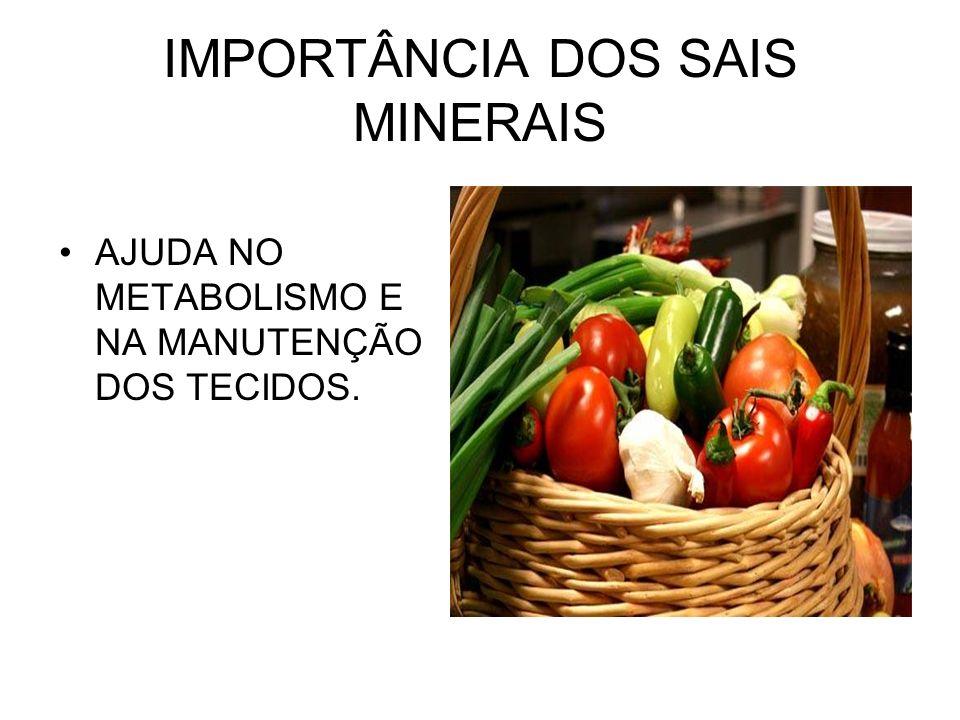 IMPORTÂNCIA DOS SAIS MINERAIS
