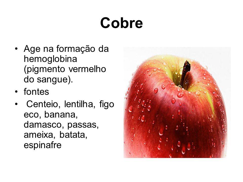 Cobre Age na formação da hemoglobina (pigmento vermelho do sangue).