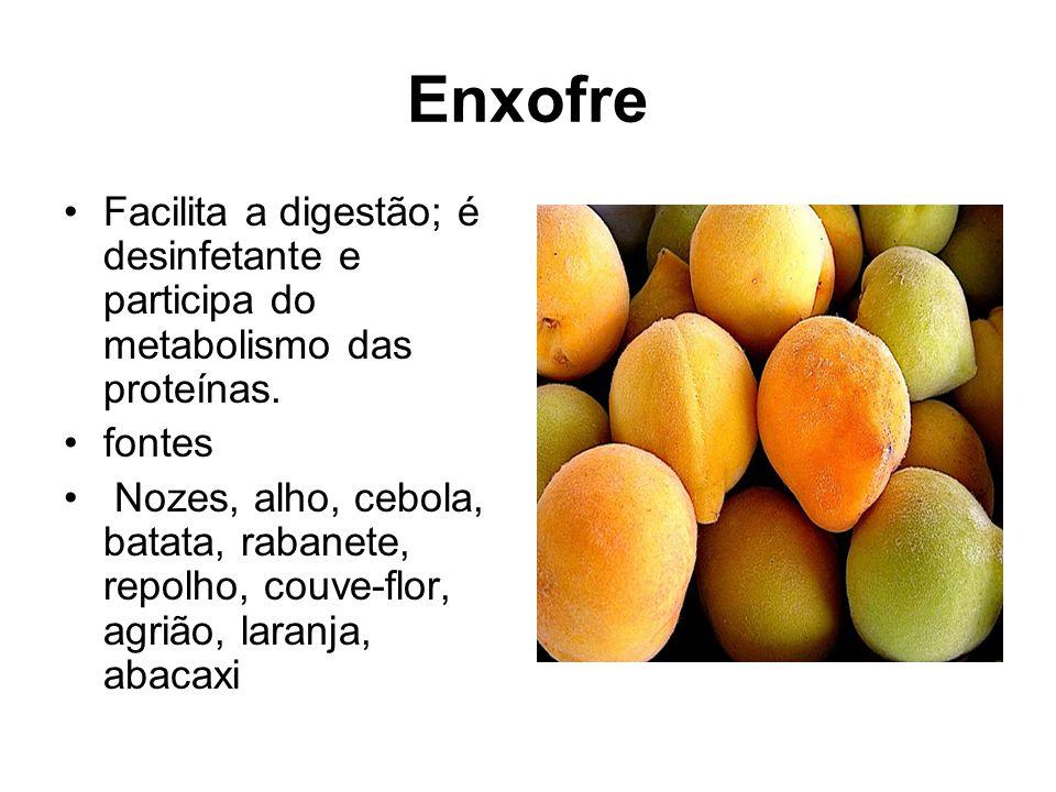 Enxofre Facilita a digestão; é desinfetante e participa do metabolismo das proteínas. fontes.