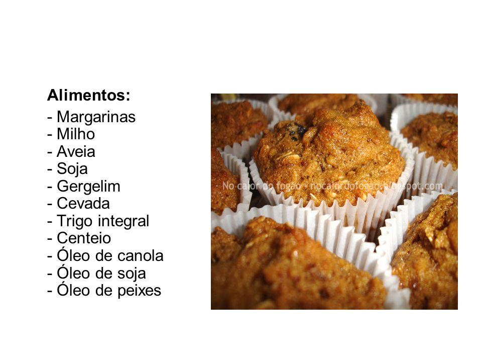 Alimentos: - Margarinas - Milho - Aveia - Soja - Gergelim - Cevada - Trigo integral - Centeio - Óleo de canola - Óleo de soja - Óleo de peixes.