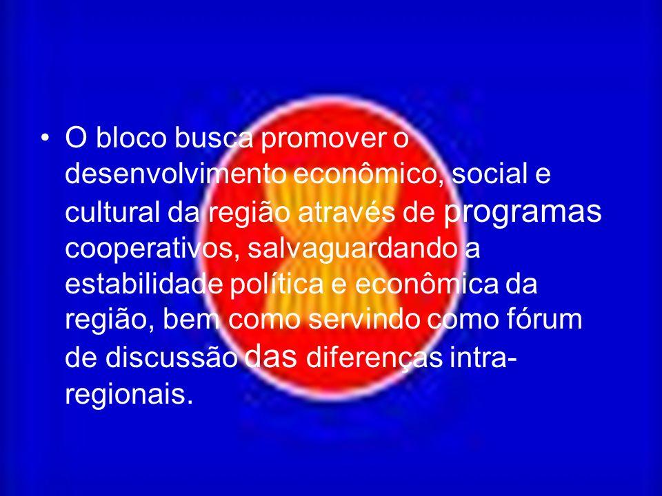 O bloco busca promover o desenvolvimento econômico, social e cultural da região através de programas cooperativos, salvaguardando a estabilidade política e econômica da região, bem como servindo como fórum de discussão das diferenças intra-regionais.