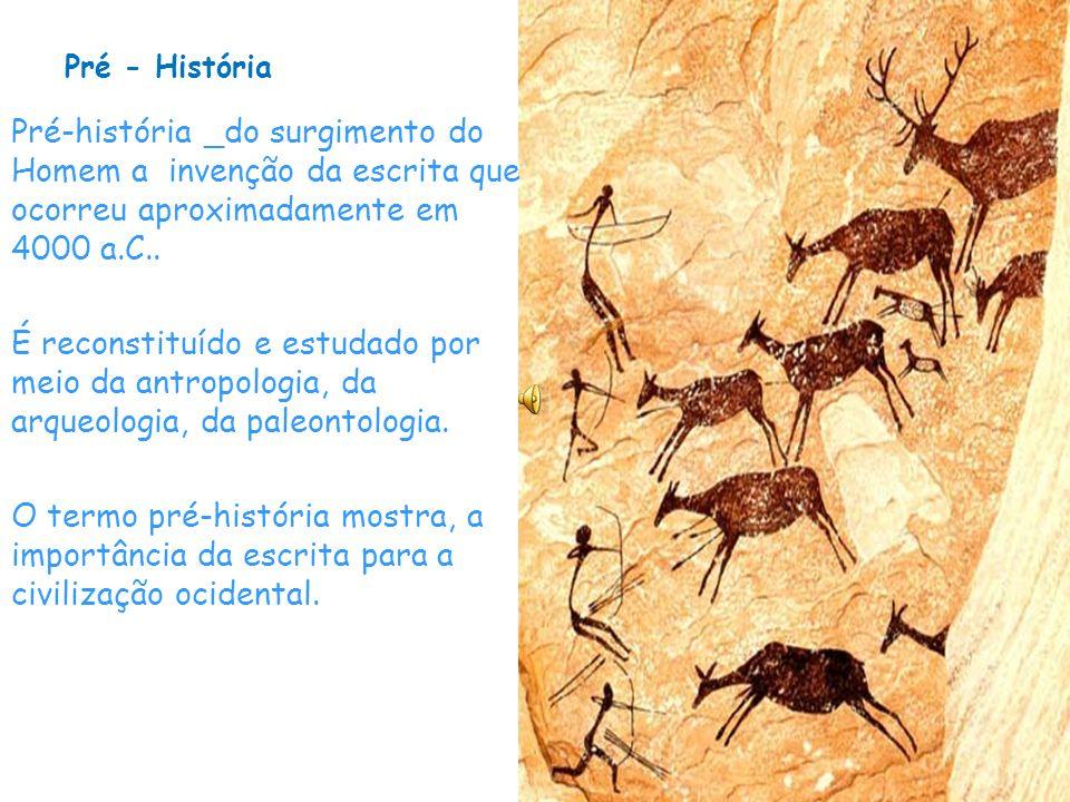 Pré - História Pré-história _do surgimento do Homem a invenção da escrita que ocorreu aproximadamente em 4000 a.C..