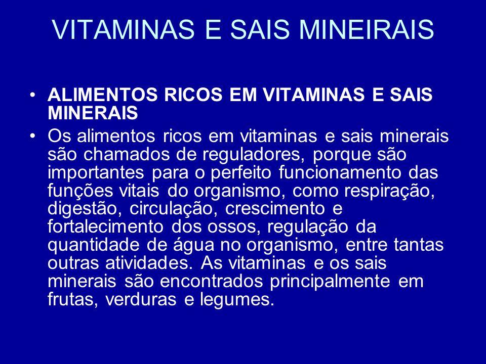 VITAMINAS E SAIS MINEIRAIS