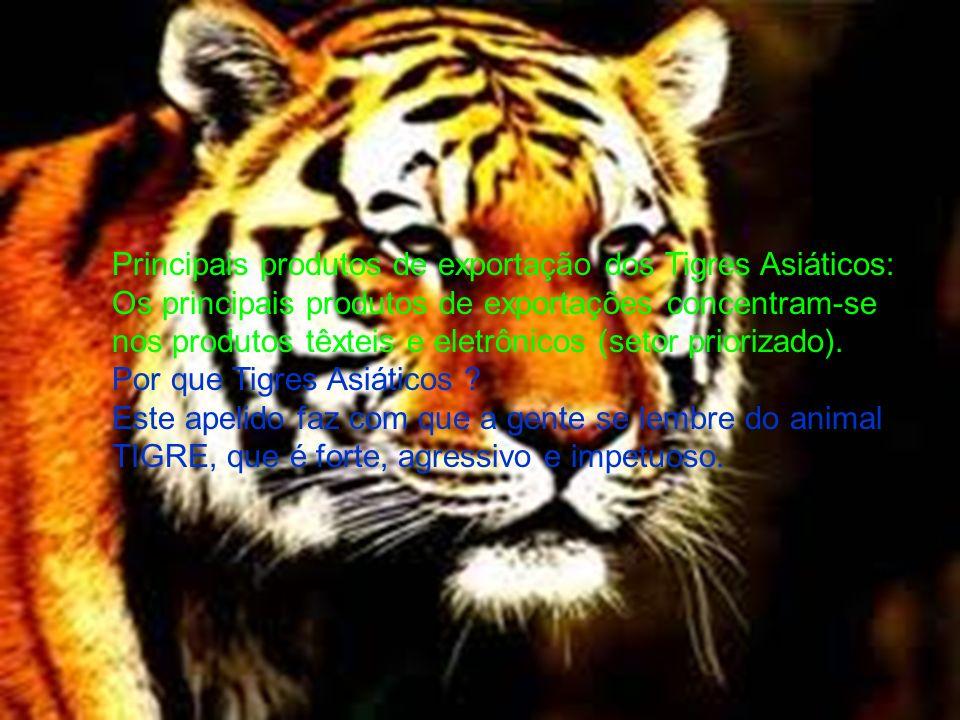 Principais produtos de exportação dos Tigres Asiáticos: