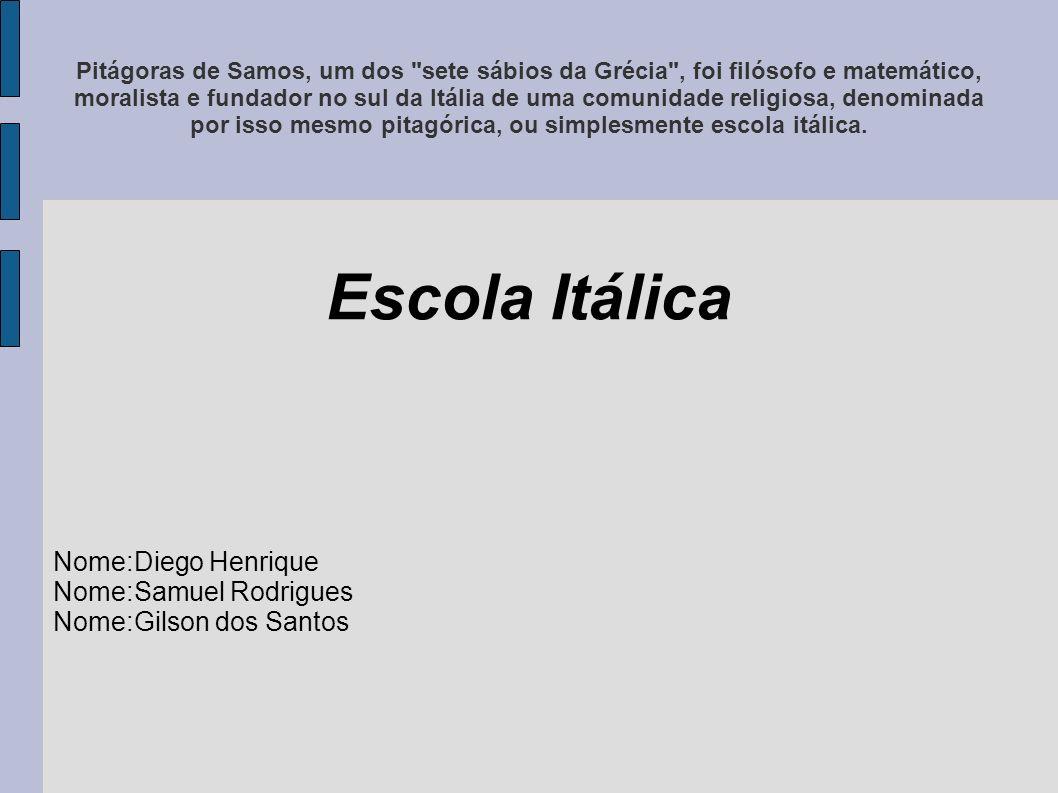 Escola Itálica Nome:Diego Henrique Nome:Samuel Rodrigues