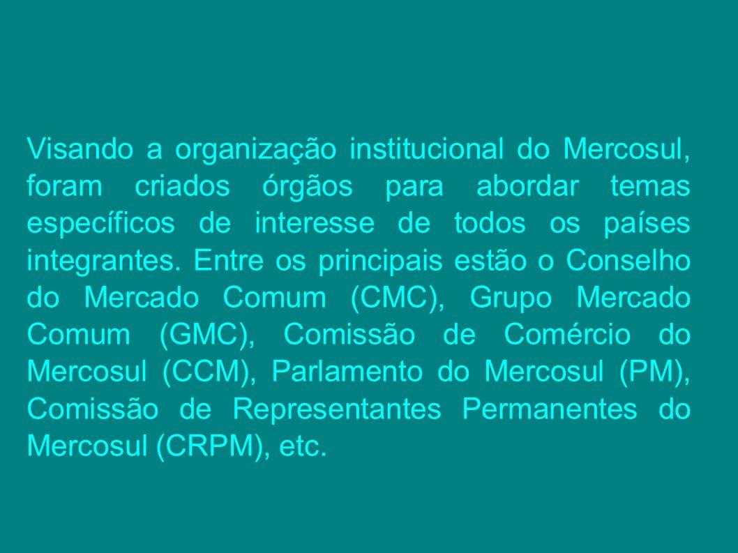 Visando a organização institucional do Mercosul, foram criados órgãos para abordar temas específicos de interesse de todos os países integrantes.
