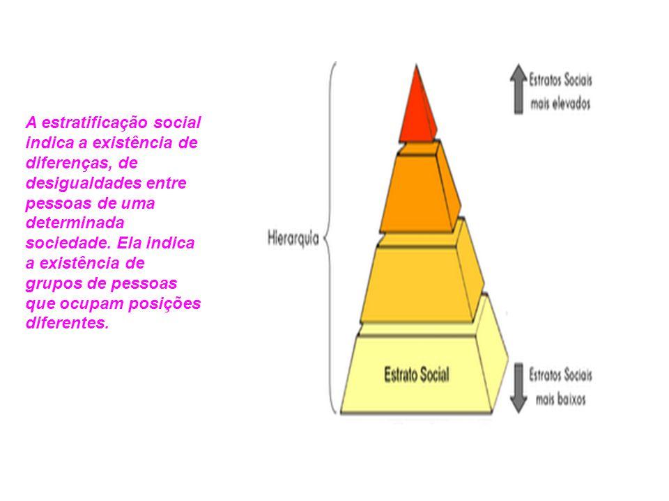 A estratificação social indica a existência de diferenças, de desigualdades entre pessoas de uma determinada sociedade.