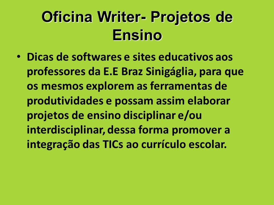 Oficina Writer- Projetos de Ensino