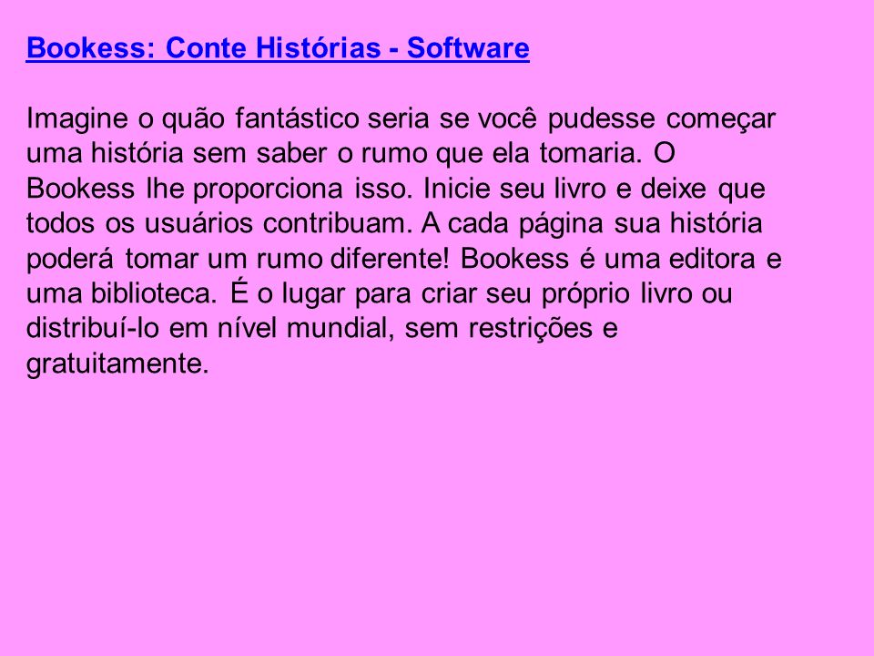 Bookess: Conte Histórias - Software