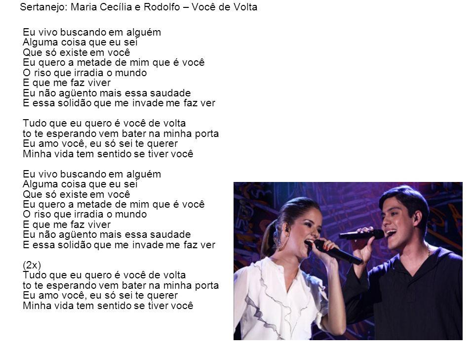 Sertanejo: Maria Cecília e Rodolfo – Você de Volta