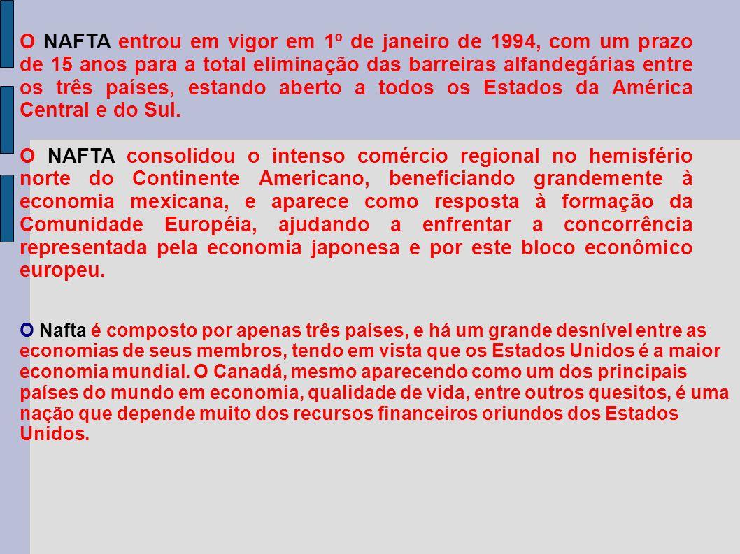 O NAFTA entrou em vigor em 1º de janeiro de 1994, com um prazo de 15 anos para a total eliminação das barreiras alfandegárias entre os três países, estando aberto a todos os Estados da América Central e do Sul.