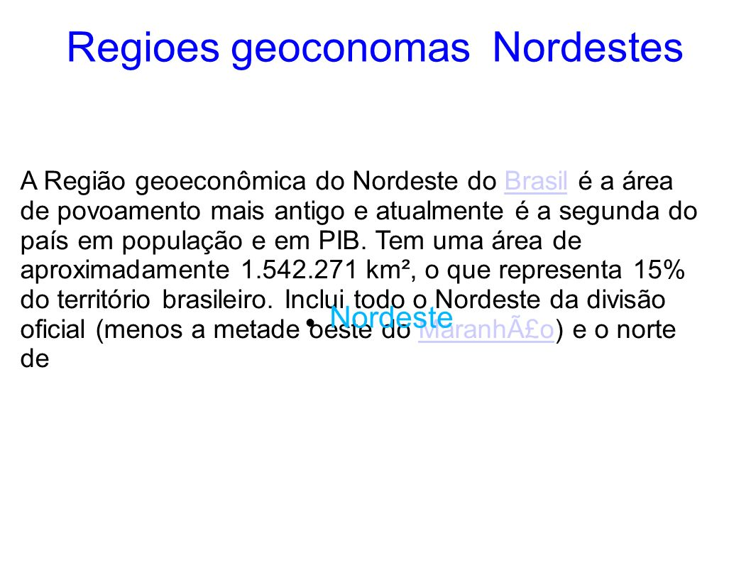 Regioes geoconomas Nordestes