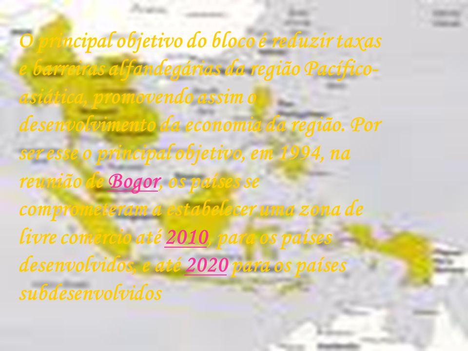 O principal objetivo do bloco é reduzir taxas e barreiras alfandegárias da região Pacífico-asiática, promovendo assim o desenvolvimento da economia da região.