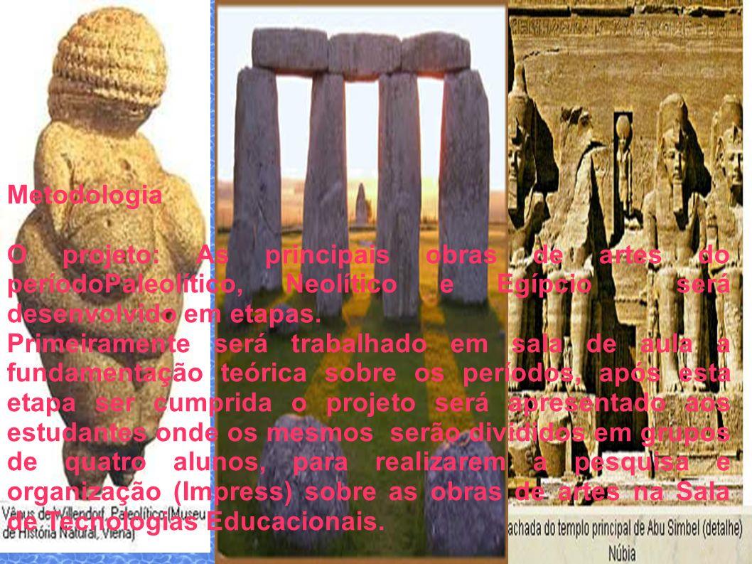 Metodologia O projeto: As principais obras de artes do períodoPaleolítico, Neolítico e Egípcio será desenvolvido em etapas.