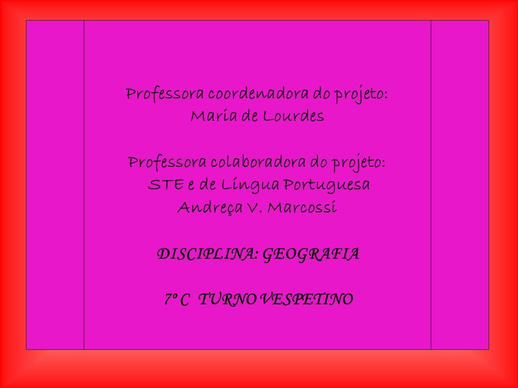 Professora coordenadora do projeto: Maria de Lourdes