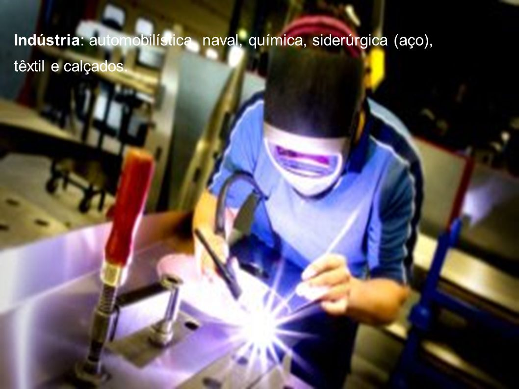 Indústria: automobilística, naval, química, siderúrgica (aço),