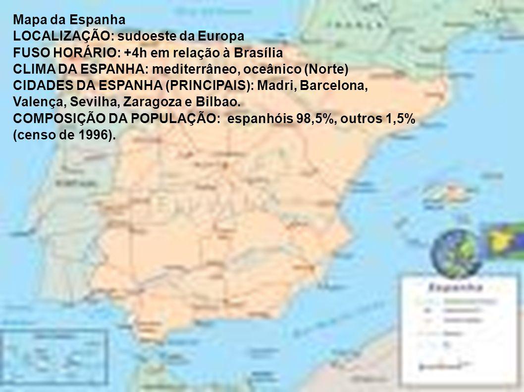 Mapa da EspanhaLOCALIZAÇÃO: sudoeste da Europa. FUSO HORÁRIO: +4h em relação à Brasília. CLIMA DA ESPANHA: mediterrâneo, oceânico (Norte)