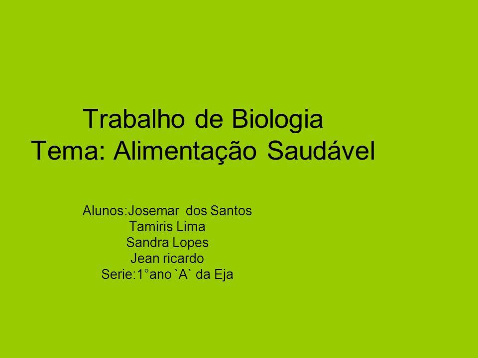 Trabalho de Biologia Tema: Alimentação Saudável